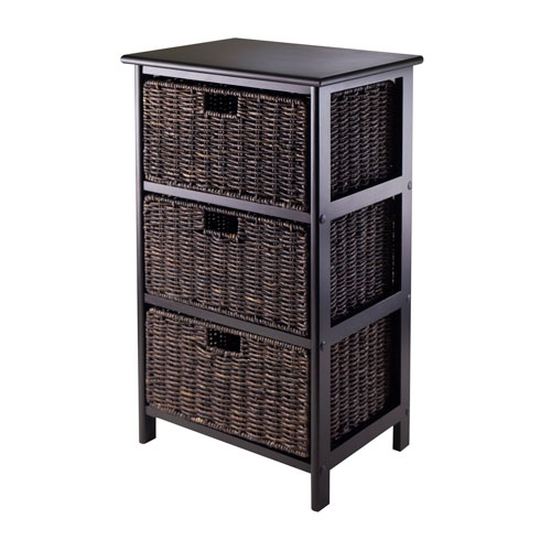 Winsome Wood Omaha Storage Rack with Three Foldable Baskets