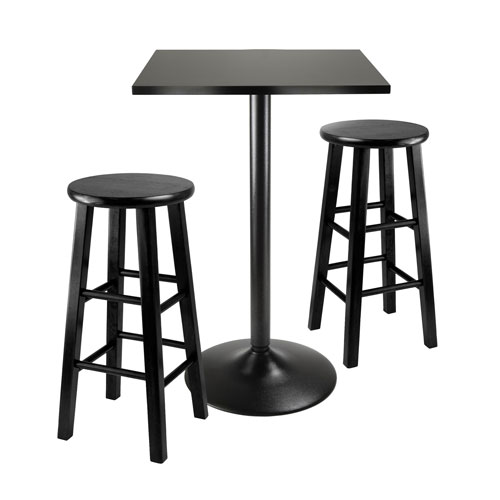 Obsidian Counter Height Dining Set, Black Squar Table Top and Black Metal Legs with Two Wood Stools, Three Piece