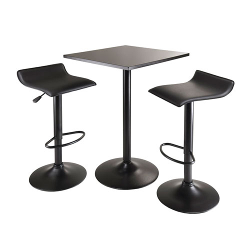 Winsome Wood Obsidian 3Piece Table Set, Square Table Counter Height with 2 Airlift Stools All Black