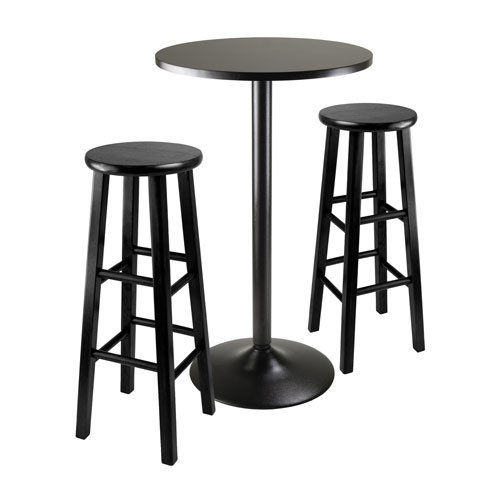 Winsome Wood Obsidian Square Black Pub Table With Two 29 Inch Wood Stool Square Legs Three Piece