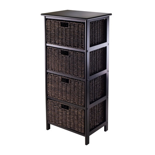 Winsome Wood Omaha Storage Rack with Four Foldable Baskets