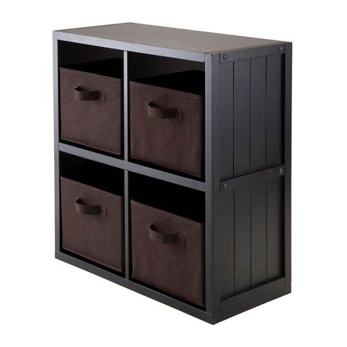 5-Piece Wainscoting Panel Shelf 2 x 2 with 4 Chocolate Fabric Baskets