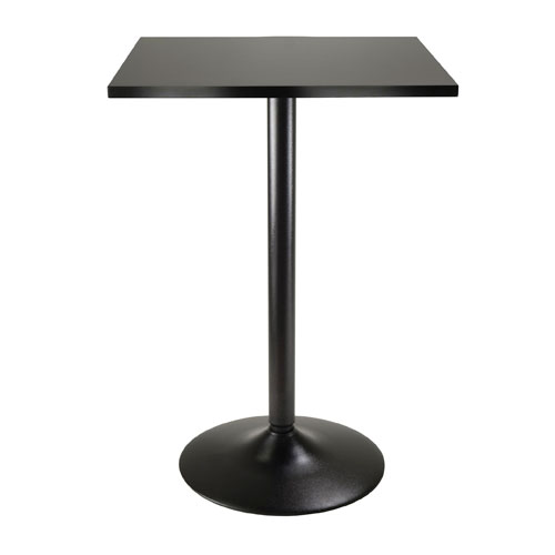 Obsidian Pub Table Square Black MDF Top with Black leg and base