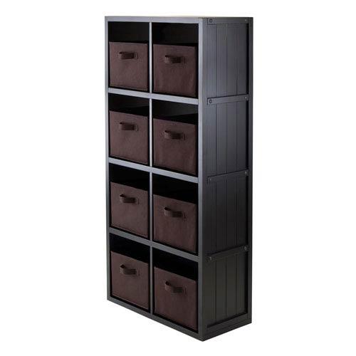 9-Piece Wainscoting Panel Shelf 4 x 2 Slots with 8 Chocolate Fabric Baskets