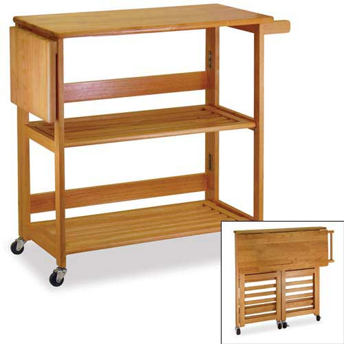 Foldable Oak Kitchen Cart