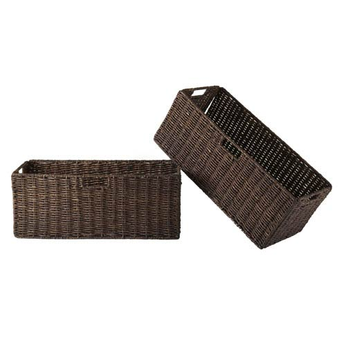 Granville Foldable Two Piece Large Corn Husk Baskets, Chocolate
