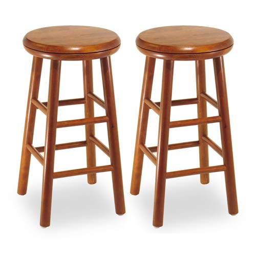 Winsome Wood Cherry 24 Inch Swivel Stools Set Of Two 75234 Bellacor