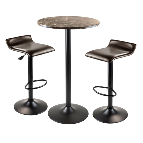 Cora 3 Piece Round Pub Table with 2 Swivel Stools
