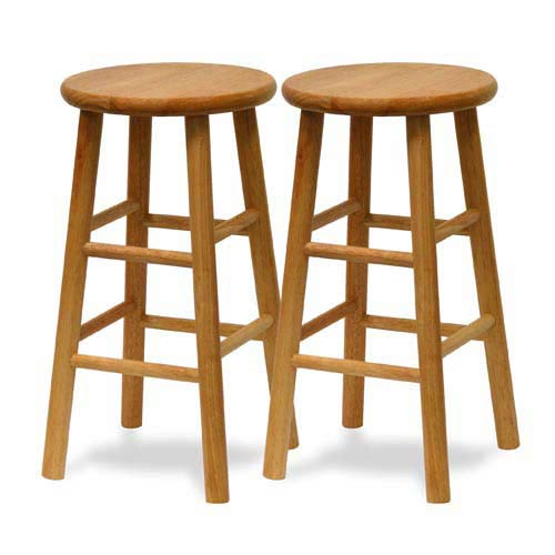 Winsome Wood 24 Inch Natural Bar Stool Set Of Two 81784 Bellacor