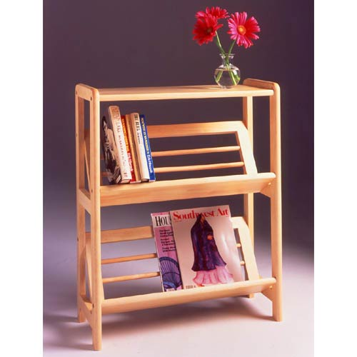 Winsome Wood Natural Two Tier Tilt Shelf