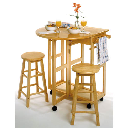Natural Round Wheeled Breakfast Bar with Stools