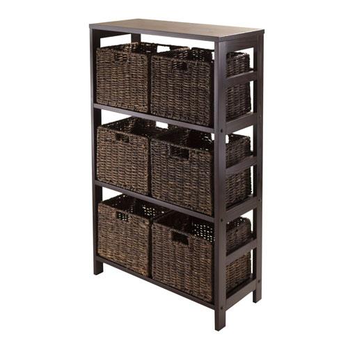 Granville 7 Piece Storage Shelf with 6 Foldable Baskets, Espresso