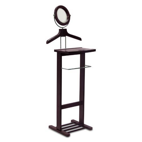 Winsome Wood Espresso Valet Stand with Mirror