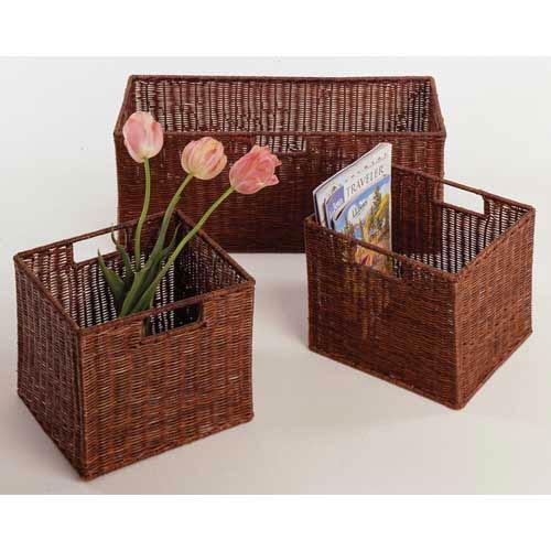 rattan basket small from storage box.htm winsome wood espresso storage baskets  set of three 92323 bellacor  winsome wood espresso storage baskets