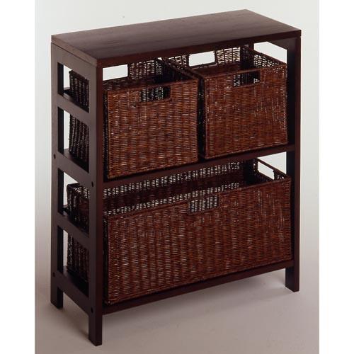 Winsome Wood Espresso Wide Basket Storage Shelf