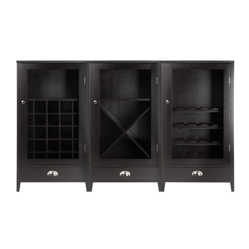 Winsome Wood Bordeaux 3-Piece Modular Wine Cabinet  Set with Tempered Glass Doors