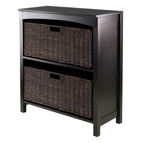 Winsome Wood Terrace Storage Three-Tier Shelf with Two Large Baskets, Three Piece