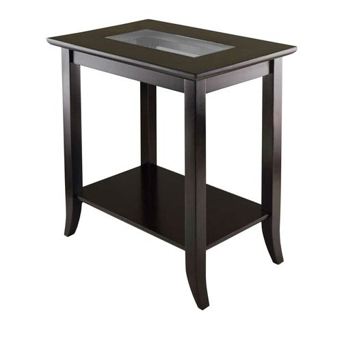 Winsome Wood Genoa Rectangular End Table with Glass Top and Shelf