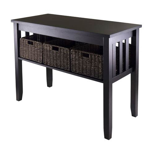 Morris Console Hall Table with Three Foldable Baskets