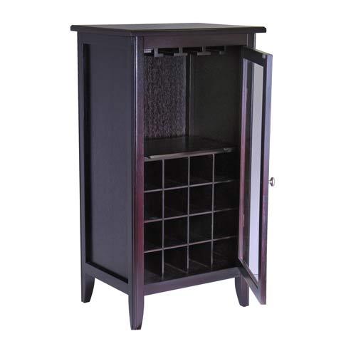 Winsome Wood Espresso Wine Cabinet