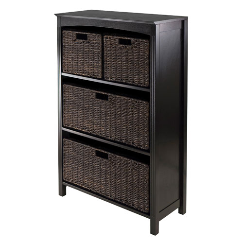 Winsome Wood Terrace Storage Four-Tier Shelf, w/ Two Large and Two Small Baskets, Five Piece