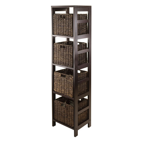 Granville 5 Piece Storage Tower Shelf with 4 Foldable Baskets, Espresso