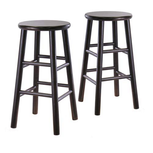 Winsome Wood 24 Inch Bevel Seat Espresso Bar Stools Set Of Two