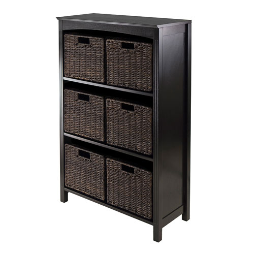 Winsome Wood Terrace Storage Four-Tier Shelf with Six Small Baskets, Seven Piece