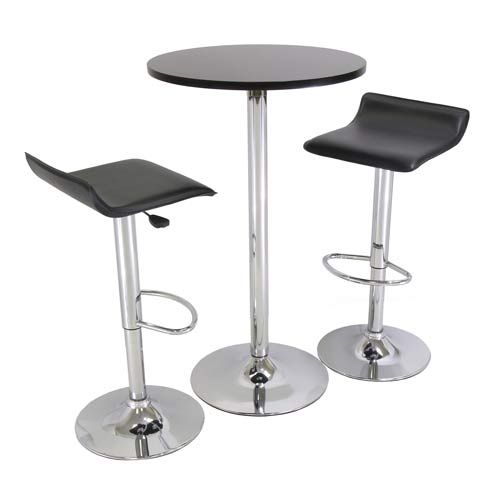 Winsome Wood 3-Piece Pub Set with 24-Inch Round Table and 2 Air Lift Stools