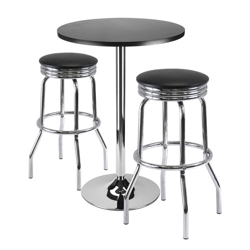 Winsome Wood Summit 3-Piece Bar Table Set, 24-Inch Table and 2 Stools