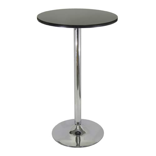 Winsome Wood 24 Inch Round Black Pub Table With Chrome Leg