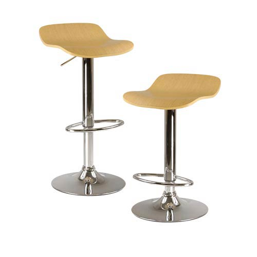 Kallie Natural Air Lift Adjustable Stool with Veneer Top and Metal Base, Set of Two