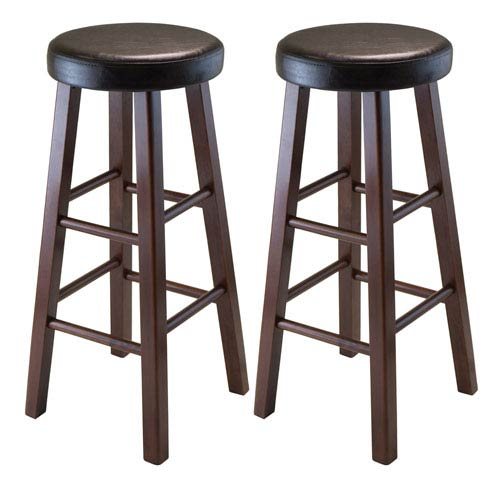 Marta Set of 2 Round Bar Stool, Pu Leather Cushion Seat, Square Legs