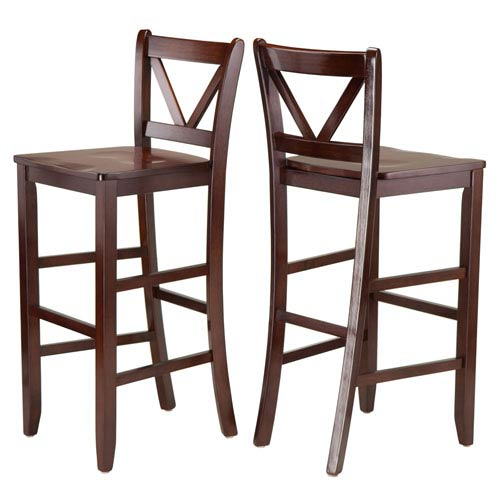 Winsome Wood Victor 2 Piece 29 Inch V Back Bar Stools 94259 Bellacor