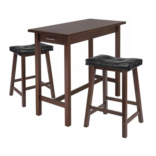 Three Piece Kitchen Island Table with Two Cushion Saddle Seat Stools