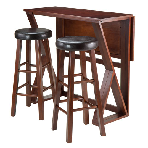 Harrington 3-Piece Drop Leaf High Table, with Two 29-Inch Cushion Round Seat Stools