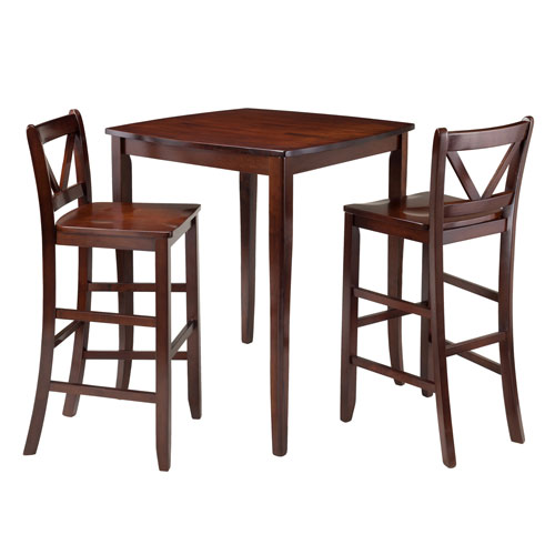 Inglewood 3-Piece High Table with 2 Bar V-Back Stools