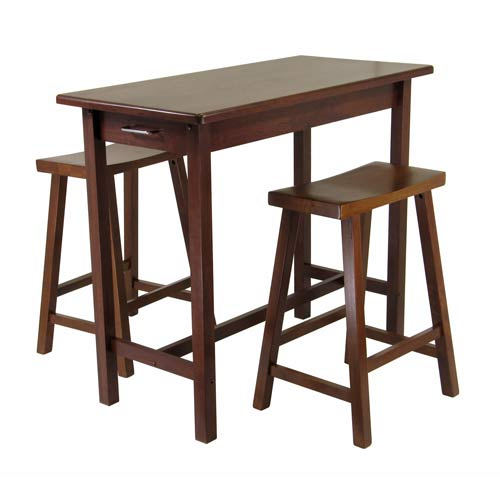 3-Piece Kitchen Island Set with 2 Saddle Seat Stools