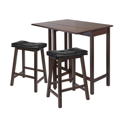 Winsome Wood Lynnwood Drop Leaf Kitchen Table with Two Cushion Saddle Seat  Stools