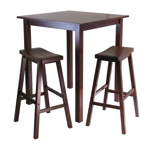 Parkland Three-Piece Square Pub Table Set with Saddle Seat Stools