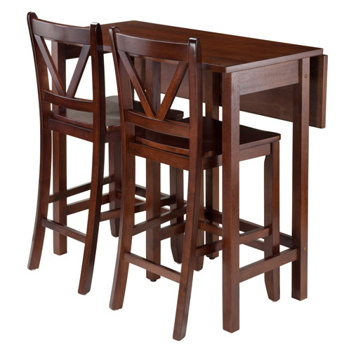 Lynnwood 3-Piece Drop Leaf Table with 2 Counter V-Back Stools