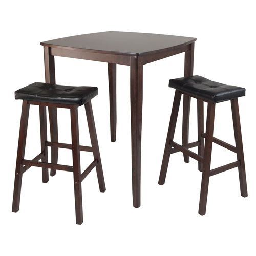 Wondrous Winsome Wood Inglewood Pub Dining Table W Cushioned Saddle Stool Pabps2019 Chair Design Images Pabps2019Com