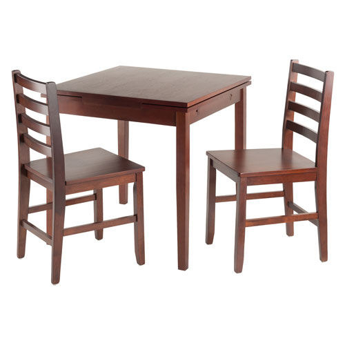 Winsome Wood Pullman 3-Piece Set Extension Table with 2 Ladder Back Chairs