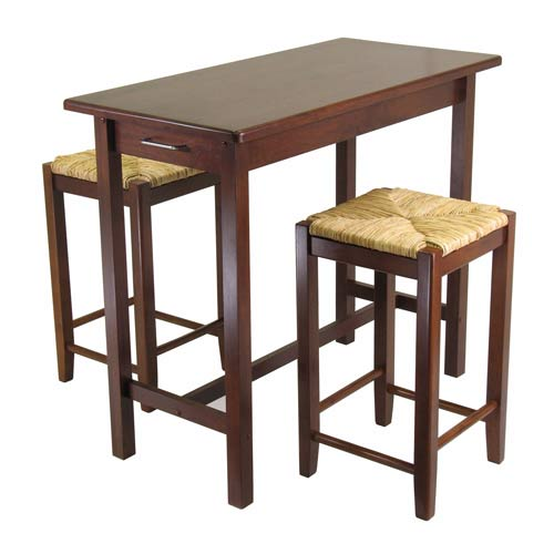 3-Piece Kitchen Island Set with 2 Rush Seat Stools