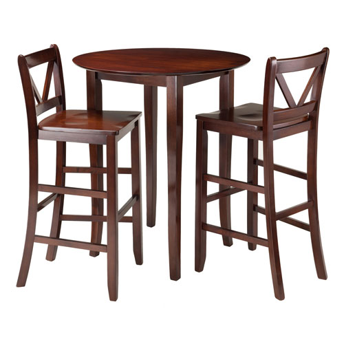 Winsome Wood Fiona 3-Piece High Round Table with 2 Bar V-Back Stool