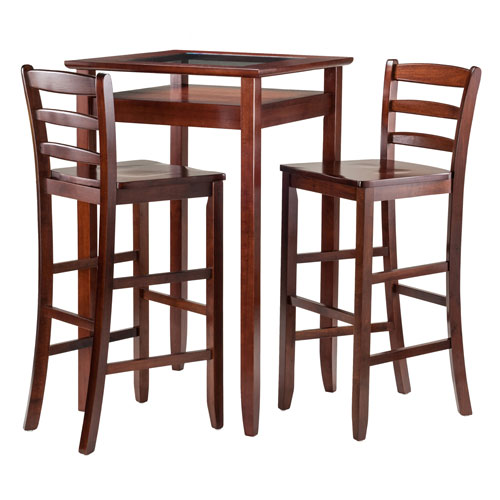 Halo 3 Piece Pub Table Set with 2 Ladder Back Stools