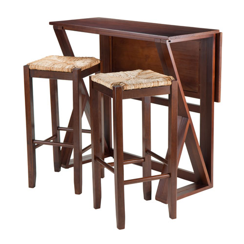 Harrington 3-Piece Drop Leaf High Table, 2-29-Inch Rush Seat Stools