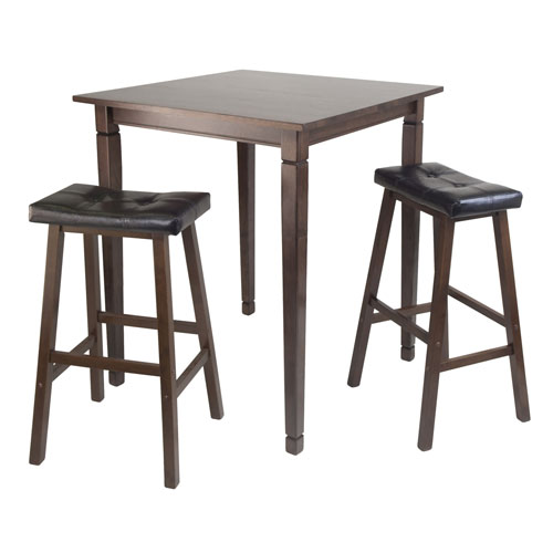 Winsome Wood Kingsgate Pub Dining Table w/ Cushioned Saddle Stool