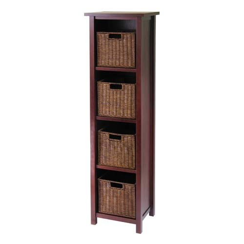winsome wood 4 tier tall storage shelf with 4 baskets 94411 bellacor rh bellacor com wood storage shelves with baskets