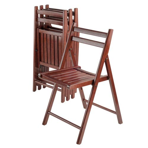 Robin 4-Piece Folding Chair Set Walnut